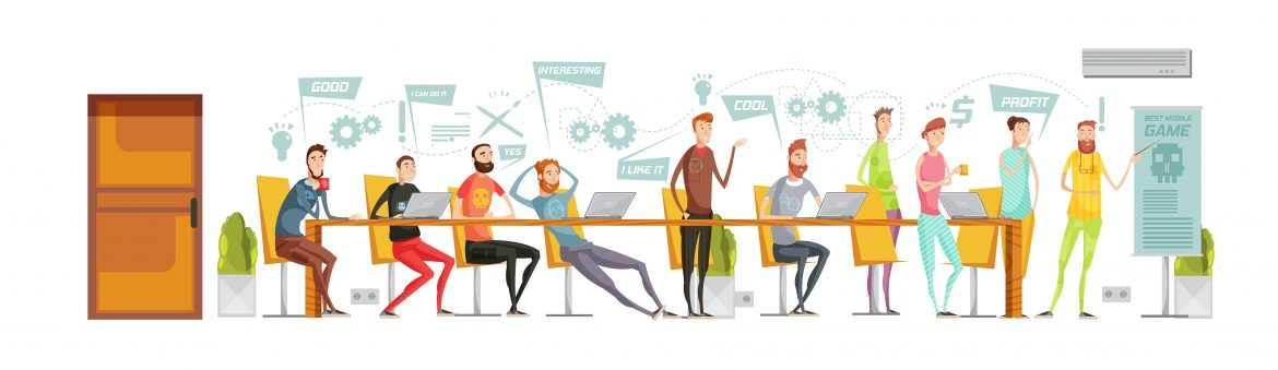 Colored flat game development meeting composition with negotiations at a long table in the office vector illustration